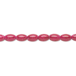 bead, riverstone (dyed), rose, 6x4mm oval, b grade, mohs hardness 3-1/2. sold per 16-inch strand.