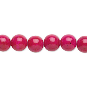 bead, riverstone (dyed), rose, 8mm round, b grade, mohs hardness 3-1/2. sold per pkg of (2) 16-inch strands.