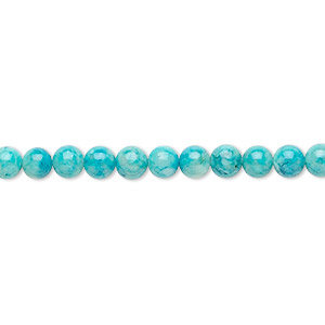 bead, riverstone (dyed), turquoise blue, 4mm round, b grade, mohs hardness 3-1/2. sold per pkg of (2) 16-inch strands.