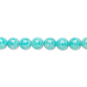 bead, riverstone (dyed), turquoise blue, 6mm round, b grade, mohs hardness 3-1/2. sold per pkg of (2) 16-inch strands.