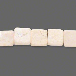bead, riverstone (natural / dyed), light brown, 9x9mm-10x10mm flat square, c grade, mohs hardness 3-1/2. sold per 15-inch strand. minimum 5 per order.