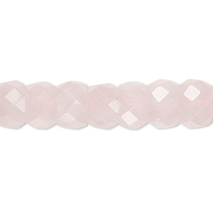bead, rose quartz (natural),10x7mm tumbled faceted rondelle, b grade, mohs hardness 7. sold per 16-inch strand.