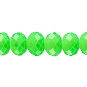 bead, rubber-coated glass, matte neon green, 12x10mm faceted rondelle. sold per 8-inch strand, approximately 20 beads.