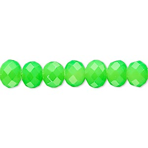 bead, rubber-coated glass, matte neon green, 8x6mm faceted rondelle. sold per 8-inch strand, approximately 30 beads.