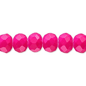 bead, rubber-coated glass, matte neon pink, 10x8mm faceted rondelle. sold per 8-inch strand, approximately 25 beads.
