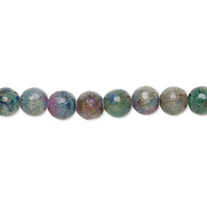 bead, ruby in kyanite (stabilized), 6mm round, b grade, mohs hardness 9 and 4. sold per 8-inch strand, approximately 35 beads.