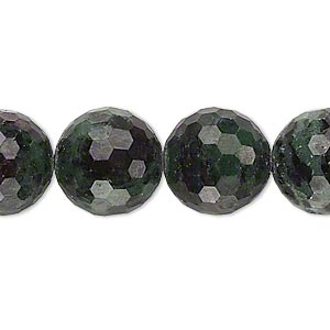 bead, ruby in zoisite (natural), 13-14mm faceted round, c grade, mohs hardness 6 to 7. sold per 15-inch strand.