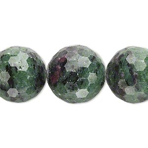 bead, ruby in zoisite (natural), 17-18mm faceted round, b- grade, mohs hardness 6 to 7. sold per 15-inch strand.