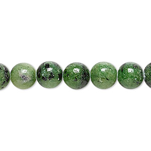 bead, ruby in zoisite (natural), 8mm round, b grade, mohs hardness 6 to 7. sold per 16-inch strand.