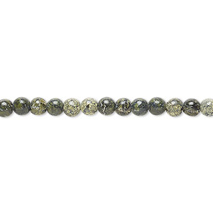 bead, russian serpentine (natural), 4mm round, b grade, mohs hardness 2-1/2 to 5. sold per 16-inch strand.