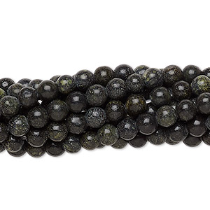 bead, russian serpentine (natural), 4mm round, c grade, mohs hardness 2-1/2 to 5. sold per pkg of (10) 16-inch strands.
