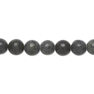 bead, russian serpentine (natural), 7-8mm round, d- grade, mohs hardness 2-1/2 to 6. sold per 15-inch strand.