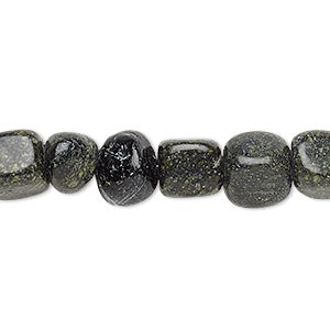bead, russian serpentine (natural), medium pebble, mohs hardness 2-1/2 to 6. sold per 16-inch strand.