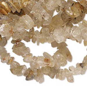 bead, rutilated quartz (natural), small chip, mohs hardness 7. sold per 36-inch strand.