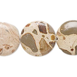 bead, safari jasper (natural), 20mm flat round, b grade, mohs hardness 6-1/2 to 7. sold per 16-inch strand.