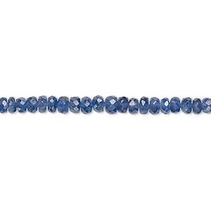 bead, sapphire (heated), 2x1mm-4x3mm graduated faceted rondelle, b grade, mohs hardness 9. sold per 8-inch strand.