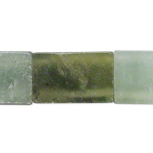bead, sea green new jade (coated), light to dark, 15x13mm-25x16mm double-drilled flat rectangle, c grade, mohs hardness 2-1/2 to 6. sold per 15-inch strand. minimum 5 per order.