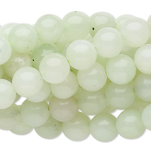 bead, sea green new jade (natural), 8mm round, c grade, mohs hardness 2-1/2 to 6. sold per pkg of (10) 16-inch strands.