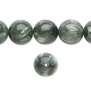 bead, seraphinite (natural), 12mm round, b grade, mohs hardness 2 to 2-1/2. sold per 16-inch strand.