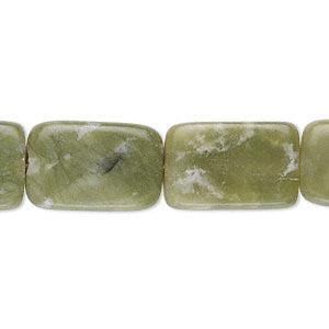 bead, serpentine (natural), 18x11mm-19x13mm flat rectangle, c grade, mohs hardness 2-1/2 to 6. sold per 15-inch strand. minimum 2 per order.