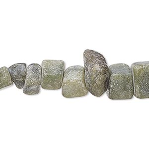 bead, serpentine (natural), matte, large chip, mohs hardness 2-1/2 to 6. sold per 15-inch strand.