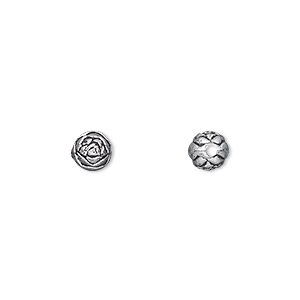 bead, silver-coated plastic, 6mm round rosebud. sold per pkg of 144 (1 gross).