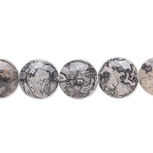 bead, silver crazy lace agate (natural), 12mm puffed flat round, b grade, mohs hardness 6-1/2 to 7. sold per 8-inch strand, approximately 15 beads.