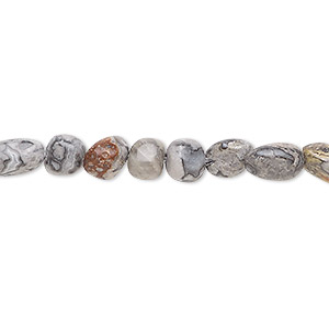 bead, silver crazy lace agate (natural), small pebble, mohs hardness 6-1/2 to 7. sold per 8-inch strand, approximately 30 beads.