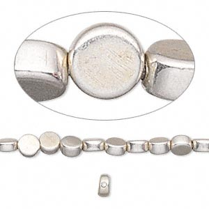 bead, silver-finished brass, 4mm flat round. sold per 16-inch strand.