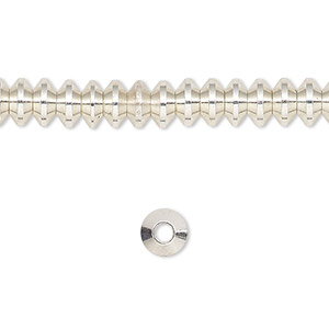bead, silver-finished brass, 6x4mm rondelle. sold per 16-inch strand.
