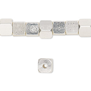 bead, silver-finished pewter (zinc-based alloy), 6x6mm rounded cube. sold per 16-inch strand.