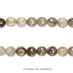 bead, silver leaf jasper (natural), 6mm faceted round with 0.5-1.5mm hole, b grade, mohs hardness 6-1/2 to 7. sold per 15-1/2 inch strand, approximately 65 beads.