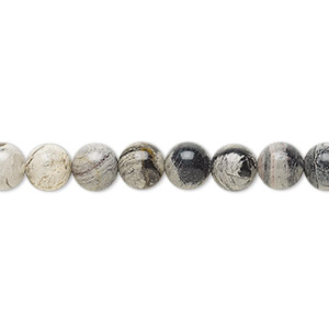 bead, silver leaf jasper (natural), 6mm round, b grade, mohs hardness 6-1/2 to 7. sold per 16-inch strand.