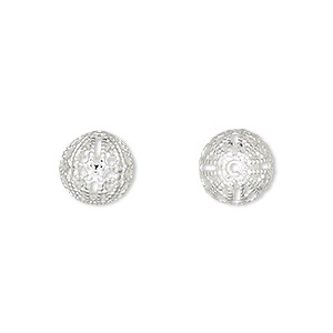 bead, silver-plated brass, 10mm filigree round. sold per pkg of 100.