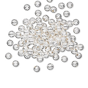bead, silver-plated brass, 3mm corrugated round. sold per pkg of 1,000.