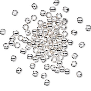 bead, silver-plated brass, 3mm micro round. sold per pkg of 100.