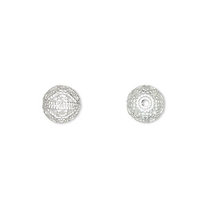 bead, silver-plated brass, 8mm filigree round. sold per pkg of 10.