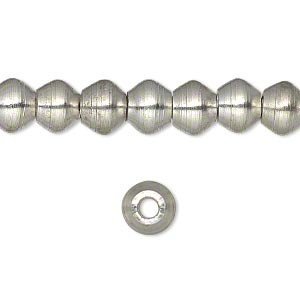 bead, silver-plated brass, 8x6mm smooth rondelle. sold per 16-inch strand.