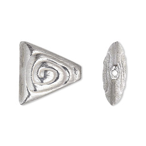 bead, silver-plated copper, 20x20x19mm double-sided brushed puffed triangle with spiral design. sold per pkg of 4.