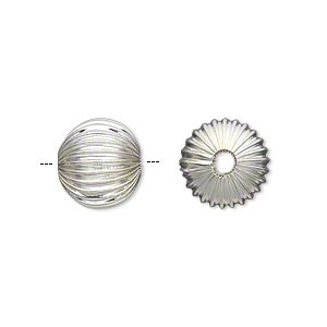 bead, silver-plated pewter (zinc-based alloy), 12mm hollow corrugated round with 2.75mm hole. sold per pkg of 10.