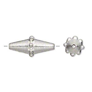 bead, silver-plated pewter (zinc-based alloy), 22x10mm double cone with beaded center. sold per pkg of 10.