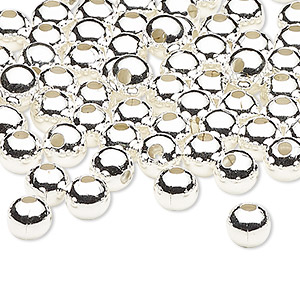 bead, silver-plated steel, 6mm round with 2mm hole. sold per pkg of 100.