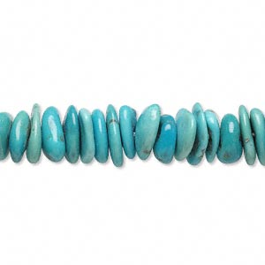 bead, sleeping beauty turquoise (stabilized), medium chip, mohs hardness 5 to 6. sold per 16-inch strand.