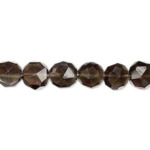 bead, smoky quartz (heated / irradiated), 6-7mm hand-cut faceted puffed round, b grade, mohs hardness 7. sold per 16-inch strand, approximately 56 beads.