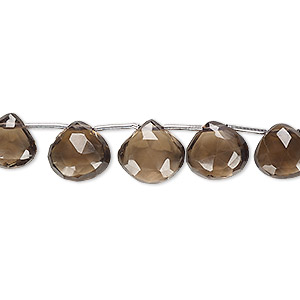 bead, smoky quartz (heated / irradiated), 6x6mm-11x11mm hand-cut top-drilled faceted puffed teardrop, b grade, mohs hardness 7. sold per 4-inch strand, approximately 11 beads.