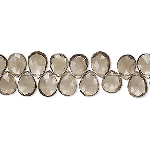 bead, smoky quartz (heated / irradiated), 7x6mm-9x7mm hand-cut top-drilled faceted puffed teardrop, b grade, mohs hardness 7. sold per 4-inch strand.
