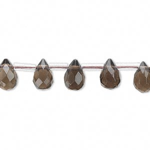 bead, smoky quartz (heated / irradiated), 8x5mm-9x7mm hand-cut top-drilled faceted briolette, b grade, mohs hardness 7. sold per 16-inch strand, approximately 40 beads.