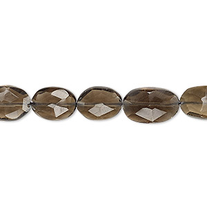 bead, smoky quartz (heated / irradiated), 9x8mm-14x9mm hand-cut faceted flat oval, b grade, mohs hardness 7. sold per 13-inch strand.