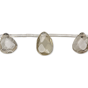 bead, smoky quartz (heated / irradiated), light, 11x7mm-13x9mm hand-cut top-drilled faceted puffed teardrop, c+ grade, mohs hardness 7. sold per pkg of 12 beads.