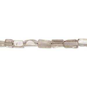 bead, smoky quartz (heated / irradiated), light, 4x2mm-9x4mm hand-cut flat rectangle, d grade, mohs hardness 7. sold per 14-inch strand.